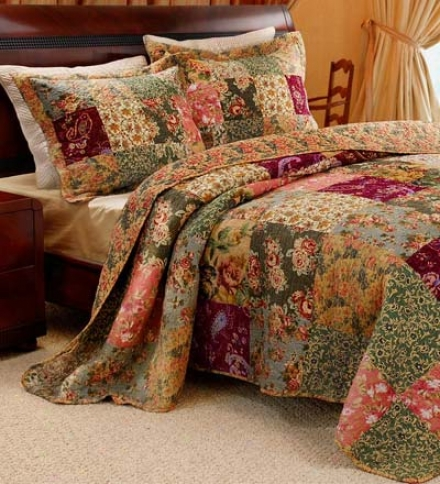 Full 100% Cotton Paisley Patchwork Block Reversible  Bedspread And Shams