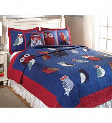 Full/queen 100%  Cotton All Over Owls Quilt Set