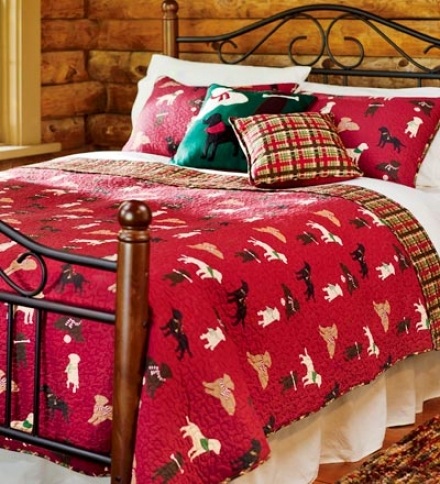 Full/queen Quilted Cotton Reversinle Labrador Plaid Bedding Set