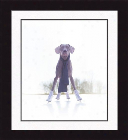Gallery Quality 'grace, The Klutz' An Ice-skating Dog Framed Print By Ron Schmidt