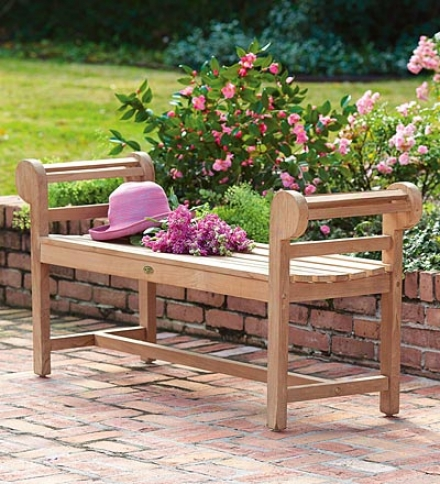 Generous 4' Backless Teak Garden Judge's seat With Scrolled Arms