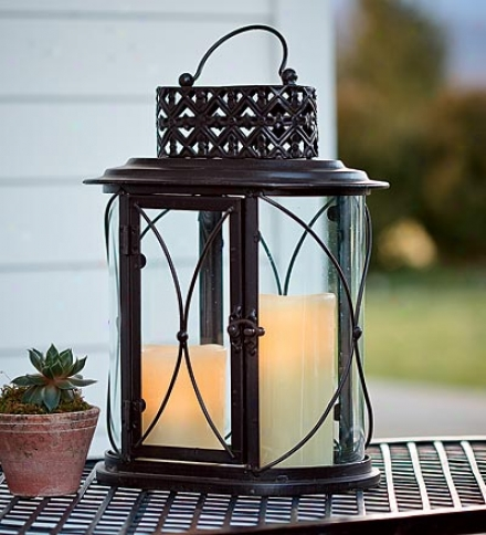 Glass And Iron Outdoor Table Lantern
