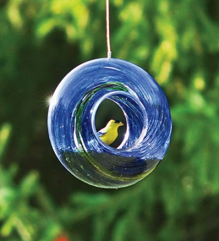 Glass Circle Bird Feeder By the side of Hanging Wire