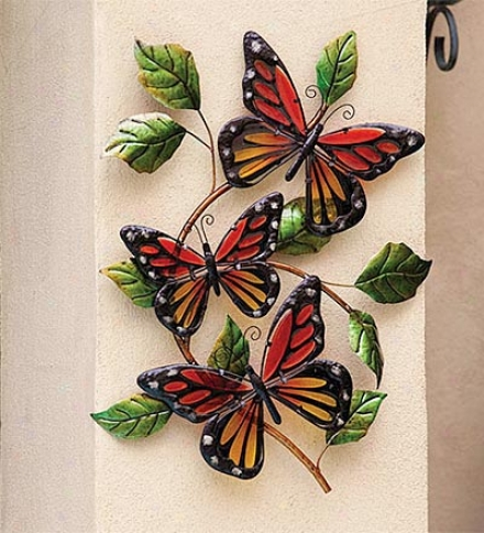 Glass Monarch Butterfly Wall Art
