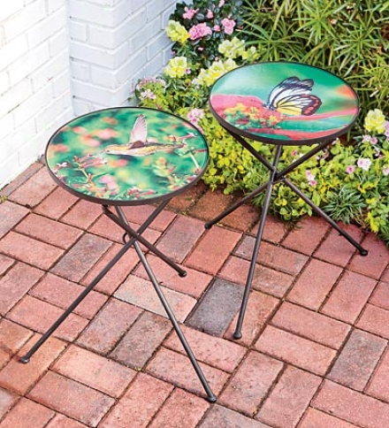 Glass Top Folding Hummingbird And Butterfly Side Tables