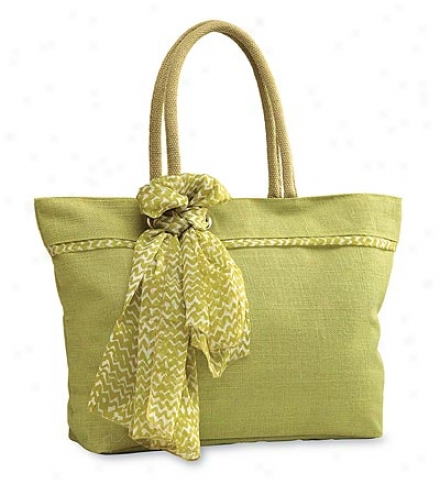 Green Marina Jute Tote Upon Removable, Coordinating Scarf
