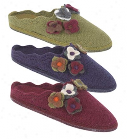 Haflinger 100% Boiled Wool Floral Appliqu?? Slipper With Non-skid Outsoles