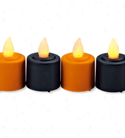 Halloween Orange And Black Led Tealights, Set Of 6