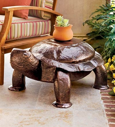 "Hammrred Iron Patio & Garden Turtle Bencch36-1/2""l X 27""w X 15-1/4""h"