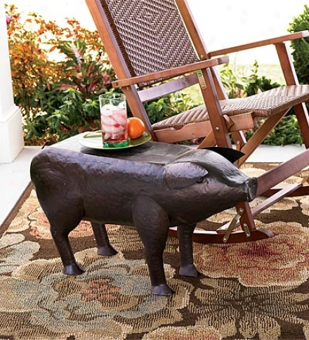 Hammered-iron Patio And Garden Pig Bench30&quot;l X 10-12/&quot;w X 16-3/4&quot;h