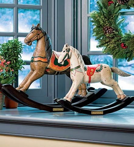 Hand-carved Large Wooden Rocking Horse