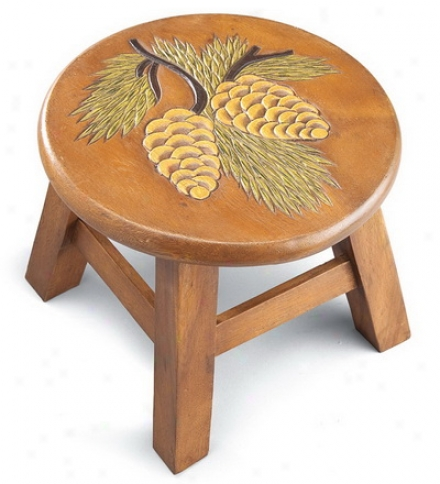 Hand-carved Pine Cone Foot Stool