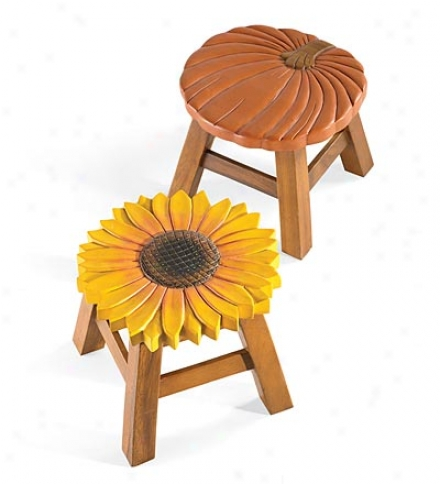Hand Carved Pumokin And Sunflower Stools