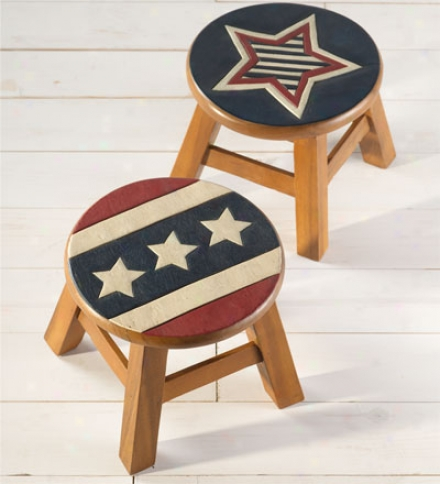 Hand Carved Wood Americana Stools