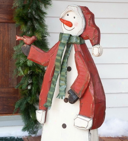 Hand-crafted Large Wooden Inodor/outdoor Snowman