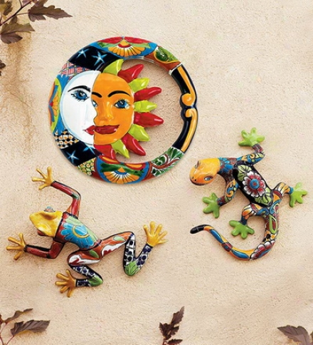 Hand-crafted Painted And Glazed Ceramic Talavera Gecko Wall Art