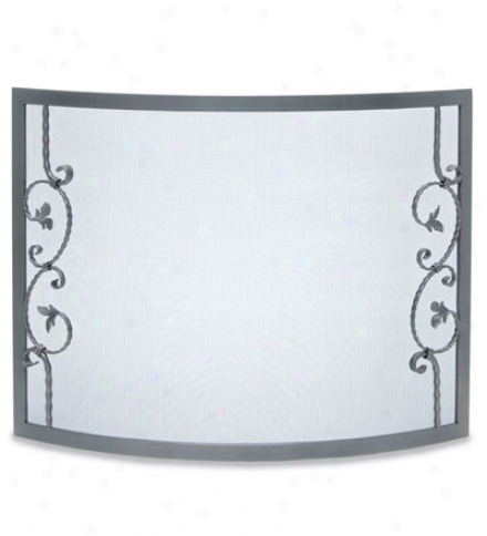 Hand-forged Bowed Scallop Fireplace Screen In Vintage Iron Finish