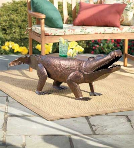 Hand-hammered Iron Alligator Bench With Antoque Coopper Finish