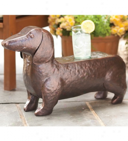 Hand-hammered Iron Dachshund Dog Add up  Stool