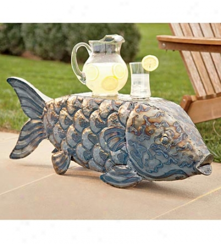 Hand-hammered Iron Fish Stool
