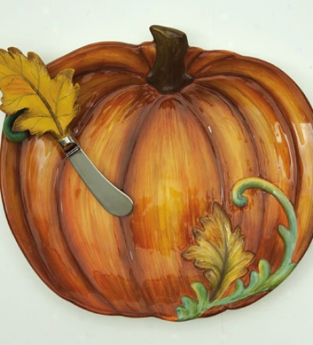 Hand-painted Ceramic Pumpkin Plate And Leaf Cheese Spreader