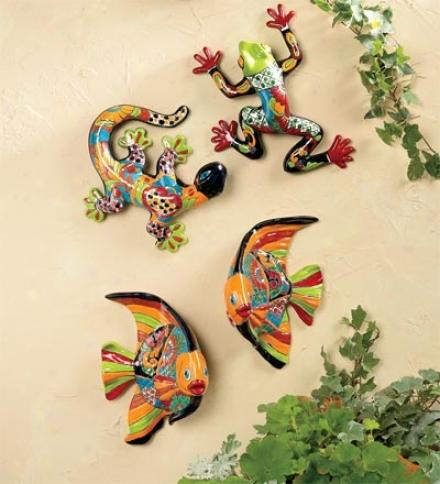 """Hand-painted Ceramic Talavera Fish Wall Plaques, Set Of 211-1/2""""l X 8""""w"""