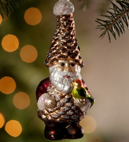 Hand Painted Glass Magic Gnome Ornament