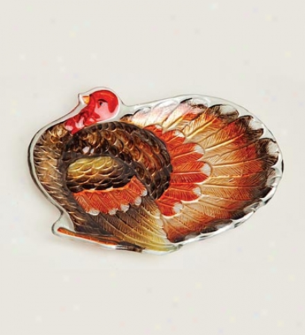 Hand-painted Glass Thanksgiving Turkey Plate