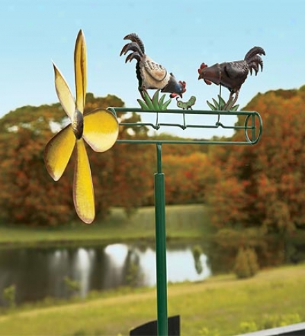Hand-painted Metal Chicken Whirligig
