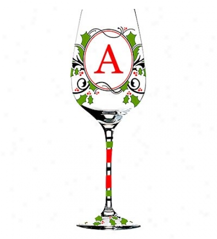 Hand-painted Monogramme Holiday Wine Glass Attending Red And Green Holly