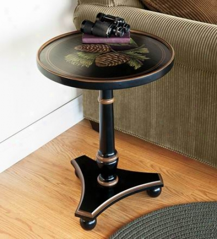 Hand-painted Pine Cone Side Table