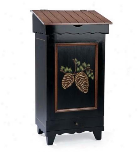Hand-painted Wiod Storage Bin With Pine Cone Design