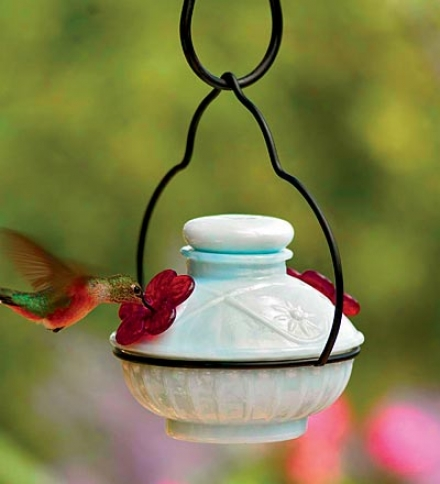 Handblown Milk Glass Pot De Créme Hummingbird Feeder