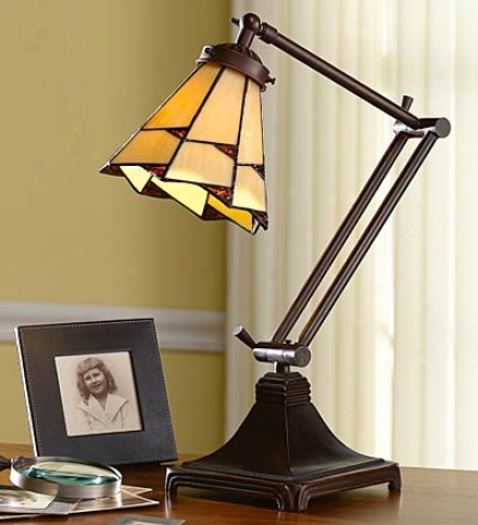 Handcrafetd Copper-foiled Stained Glass Desk Lamp