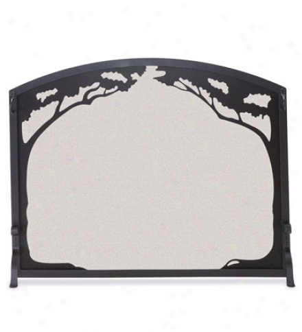 Handcrafted Forged Steel 3-panel Folding Grand Oak Fireplace Screen