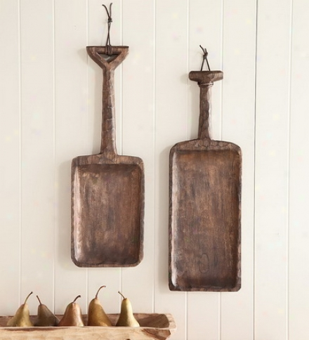 Handcrafted Hanging Long Wooden Shovel Wall Art