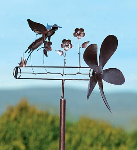 Handcrafted Metal Garden Angel Whirligig