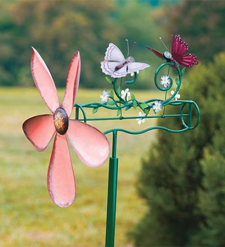 Handcrafted Metal Kinetic Butterflies Whirligi tWith Pole