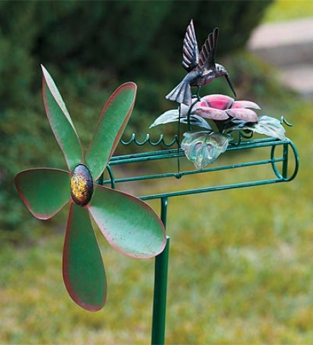 Handcrafted Metal Kinetic Hummingbird Whirligig By the side of Pole