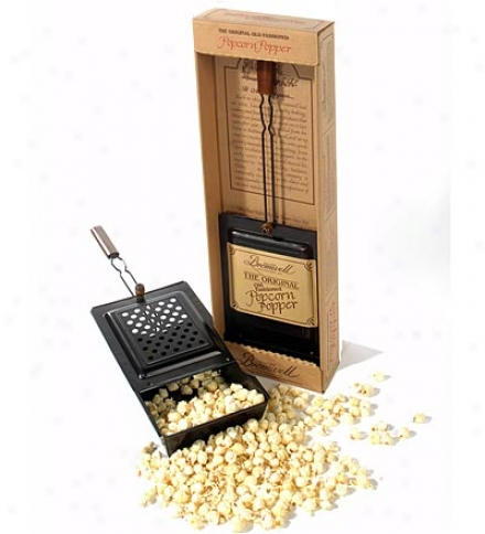 Handcrafted Non-stixk Metal Handheld Fireplace Popcorn Popper