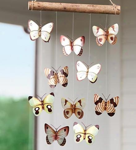 Handmade Tin Buterfly Mobile