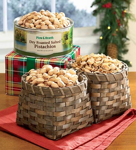 Handmade Unfilled Double Basket For Shelled And Unopened Nuts