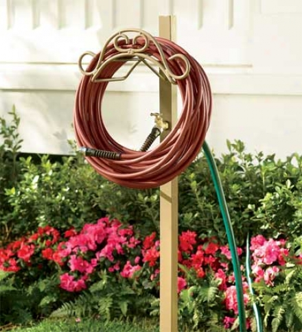 Handy Hose Hanger Post With Faucet And 5' Lead Hose Hookup