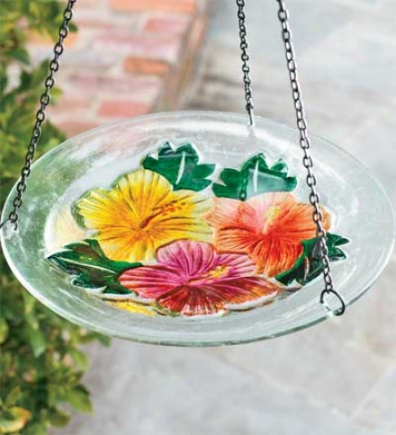 Hanging Fused Glass Birdbath With Metal Hanger