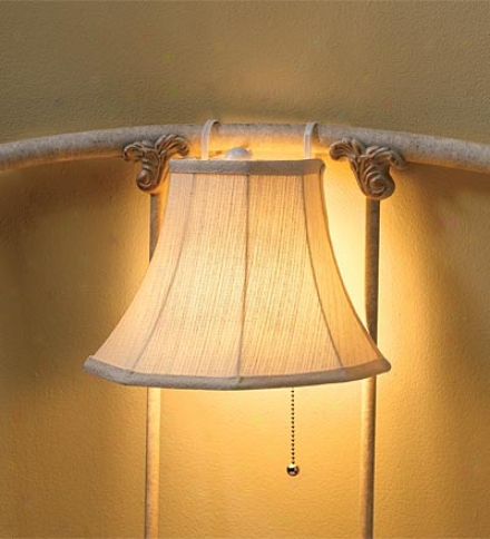 Hanging Head6oard Lamp With Embroidered Flpral Cream Shade