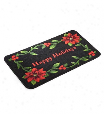 Happy Holidays Poinsettia Washabiee Accent Rug