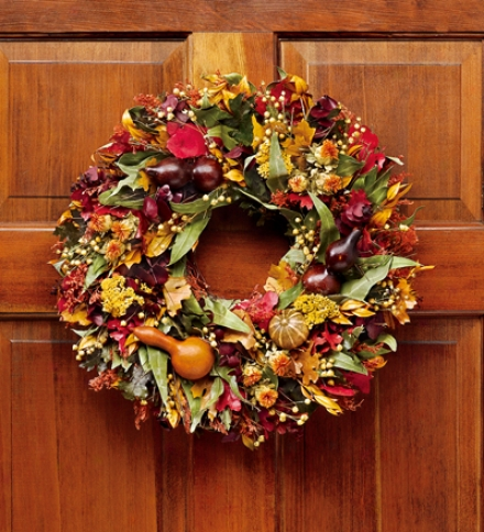 """Harvest Gourd Wreath, 22"""" Dia."""