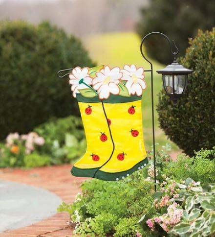 Heavy-duty Nylon Appliqué Gard3n Boots And Ladybugs Garden Flag