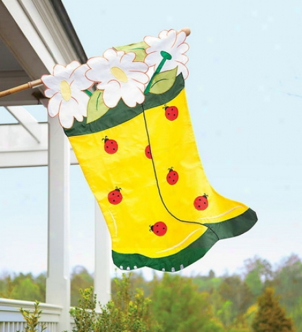 Heavy-duty Nylon Appliqué Garden Boots And Ladybugs Shelter Flag