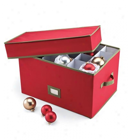 Heavy-duty Polyester Holiday Ornament Storage Box With Handles